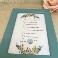 Husband Handmade Original Words and Design Print in frame