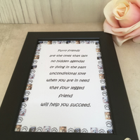 Furry Friends Handmade Original Words and Design Print in frame