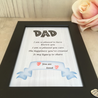 Dad Handmade Original Words and Design Print in frame