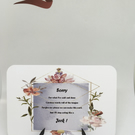 Sorry Fleur keepsake card with stand