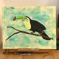 Bright Toucan bird acrylic painting on large canvas