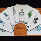 8 Personalised Gin Bottle Illustration Wedding Seating Table Prints