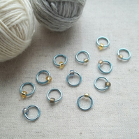 ''Sunken City'' Ring Stitch Markers for knitting - set of 12