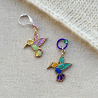 Hummingbird stitch marker for knitting or crochet
