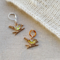 Bird on branch stitch marker for knitting or crochet