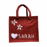 Personalised hand painted hand embroidered jute gift bag