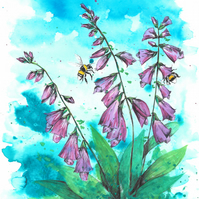 Foxgloves and Bumble Bees