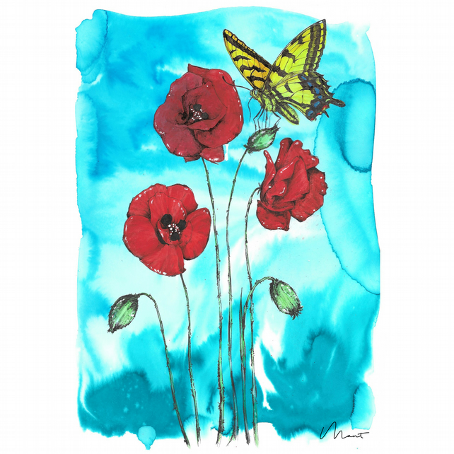 Poppies And Swallowtail Erfly