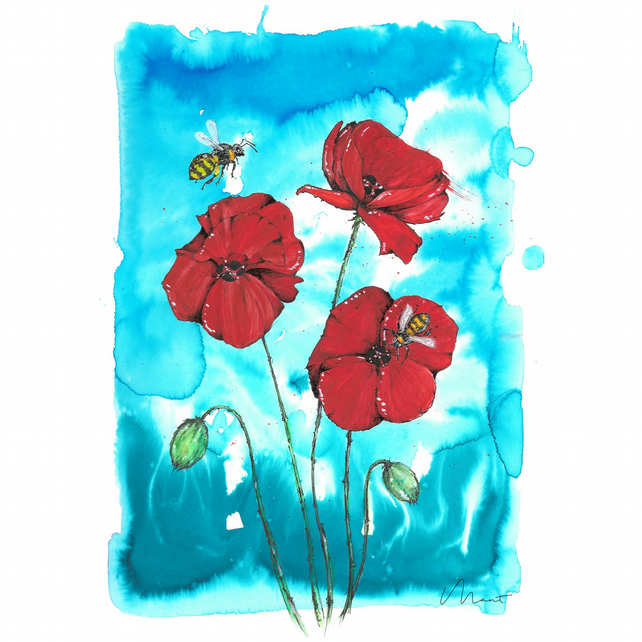 Poppies and Bees - Original
