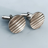 Cymbal bronze and sterling silver cufflinks