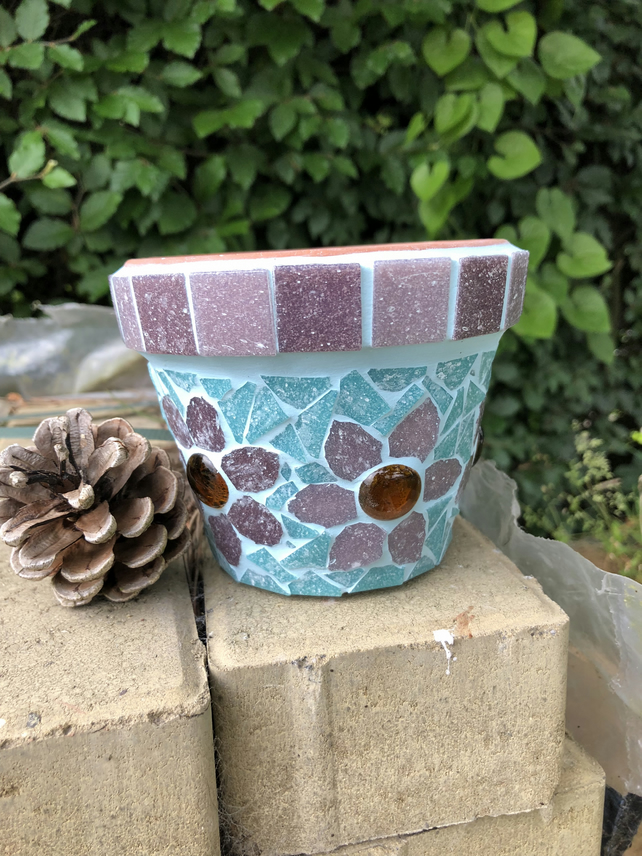 11cm glass mosaic plant pot with purple flowers and blue background