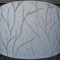 Embroidered tree lampshade 30cm diameter white background with cream & pale gold