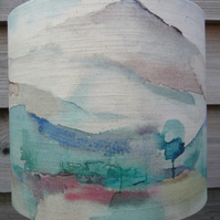 Lampshade featuring Watercolour effect mountainous landscape 20cm drum