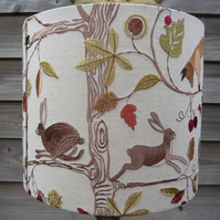 Embroidered lampshade of running hares and foxes in autumn foliage 35cm x 30cm