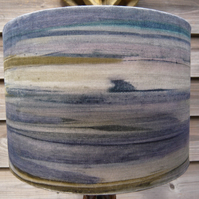 Printed velvet landscape lamp shade 30cm diameter blues olive greys white pink