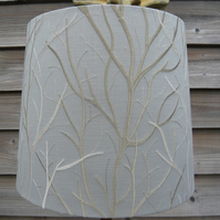 Empire lampshade Embroidered trees in cream & gold branches on grey 35cm