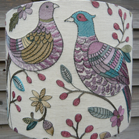 Unique Embroidered pheasants linen mix fabric lampshade 30cm x24cm