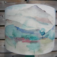 Landscape lampshade linen mix fabric 30cm diameter