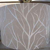 Embroidered tree lampshade white branches on natural background 30cm
