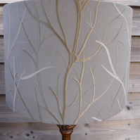 Embroidered tree lampshade cream & gold branches on grey background 40cm