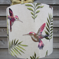 Embroidered hummingbirds & palm leaves lampshade 35cm x 30cm Browns purple pink