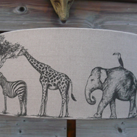40cm lampshade featuring Elephant, Zebra, giraffe, cheetah, monkey & flamingo