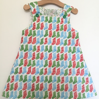 Made-to-order organic Reversible Christmas dress in sizes 6 months to 4 years