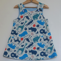 Animal Pockets 3 year-old Reversible dress