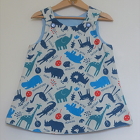 Animal Pockets 2 year-old Reversible dress