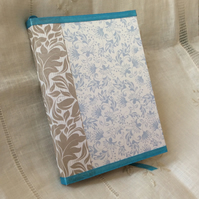 A6 Blue Taupe Handbound Floral Notebook Journal