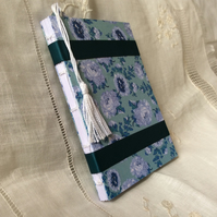 A6 Floral Teal Hand-bound Notebook with Bookmark