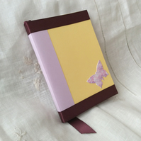 A6 Handmade Purple Yellow Butterfly Notebook Journal