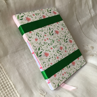A6 Handmade Notebook with Original Rosebud Pattern by Simona DeLeo ONE-OF-A-KIND
