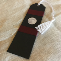 Full Moon Bookmark with Burgundy Ribbon ONE-OF-A-KIND