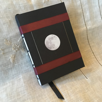 A6 Handbound Moon Photograph Sketchbook with Burgundy Ribbon ONE-OF-A-KIND
