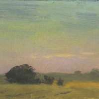 Summer Dusk Norfolk Sunset Original Oil Painting Oil on Board  6 x 4