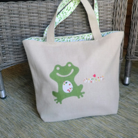 Large handmade tote bag,  with cheeky frog applique.