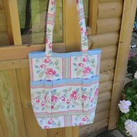 Flower print and gingham handmade large tote bag
