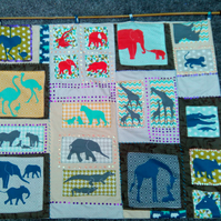 animal prints patchwork wall hanging