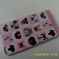 fun dog design fabric mobile phone or glass case