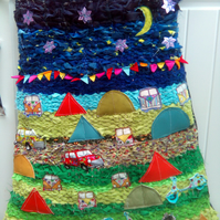FESTIVAL ,CAMPING, THEMED FABRIC WALL HANGING