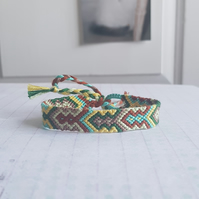 BlueBrown Yellow Tribal Arrow Woven Bracelet Mens Unisex