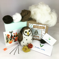 Spotty Owl - Needle Felting Kit with Felting Foam