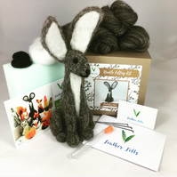 Dark Grey Hare - Needle Felting Kit with Felting Foam