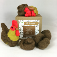 Brown Chicken - Needle Felting Kit with Felting Foam