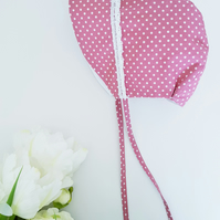 Handsewn Baby Bonnet Brimmed. Sunhat. Rose Pink. 100% Cotton. Free postage to UK