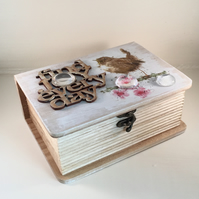 Rustic Wooden Jewellery  Box - Garden Birds design - handmade - Keepsake box