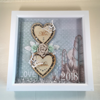 Mixed media, framed picture, gift idea, Wooden Hearts