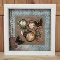 Time Flies - mixed media - artwork - framed - free shipping