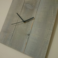 Rustic recycled square wooden wall clock with grey painted finish & black hands